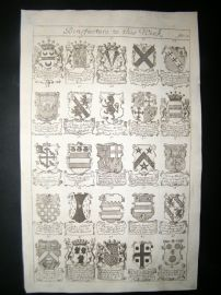 Richard Blome 1686 Folio Antique Print. Heraldry 2
